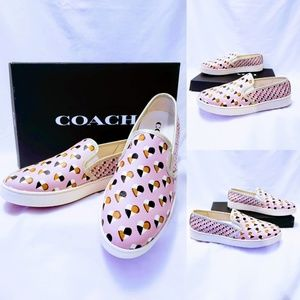 Coach Hearts Slip on Sneakers FG2113 size 10B🆕🦄
